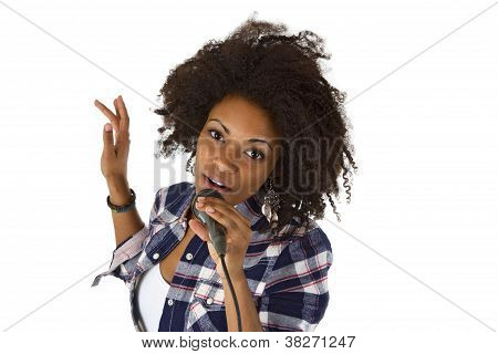 Beautiful African American Woman Karaoke Singer