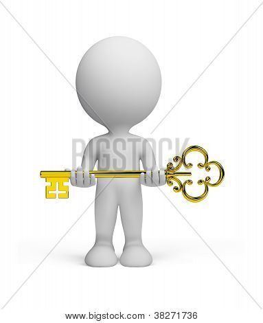 3D Person With A Key