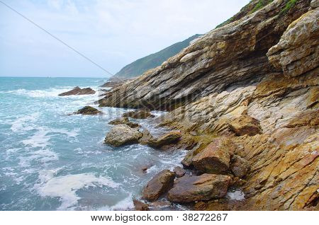 Rock of sea side at china