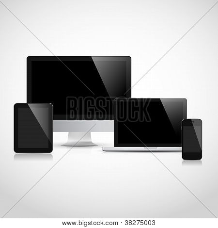 Laptop, tablet computer, monitor and mobile phone template