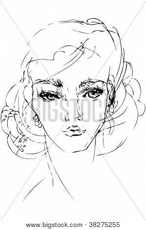Sketch To The Portrait Of Beautiful Woman Person