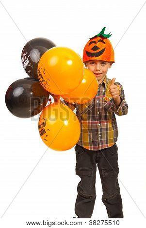 Successful Kid With Halloween Balloons