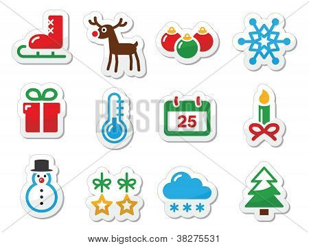 Christmas winter black icons set as labels