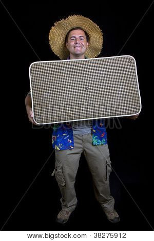 Young Silly Man Traveler, Full Body On Black Background