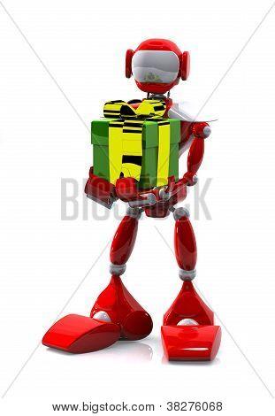 Roboter mit einem Geschenk