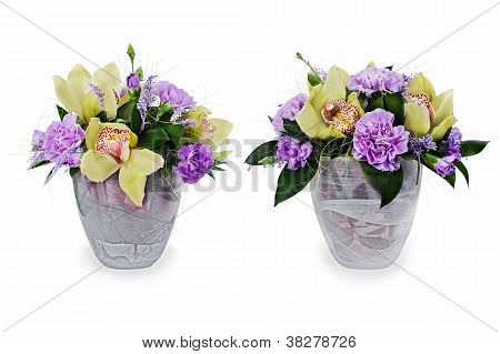 Colorful Floral Bouquet Of Roses,cloves And Orchids Arrangement Centerpiece In Glass Vase Isolated O