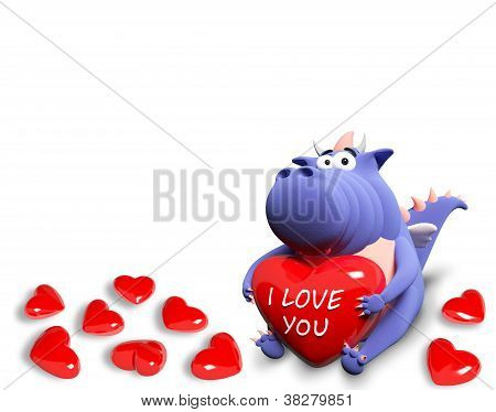 Blue Dragon And Many Red Hearts, Isolated On White Backround