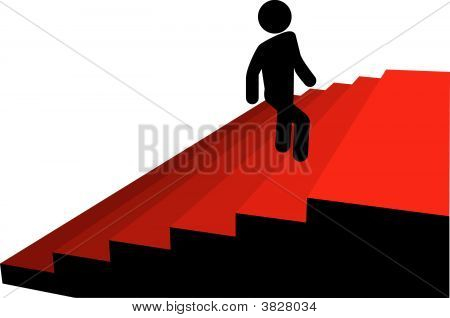 Symbol Man Climbs Up To Top Of Red Carpet Stairs