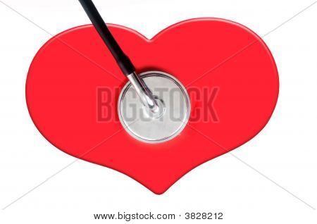 Red Heart Shape And Stethoscope