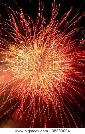 Fireworks Explosion In Red And Gold