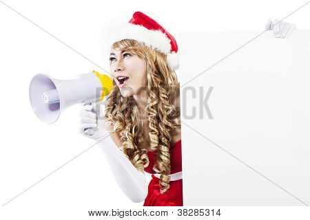 Announce Christmas Sale With Speaker And Blank Sign