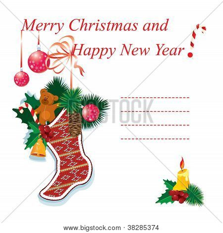 Illustration Of Christmas Sock With Gifts On A White Background