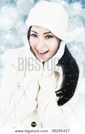 Beautiful Woman In White Winter Clothes On Blue Defocused Lights