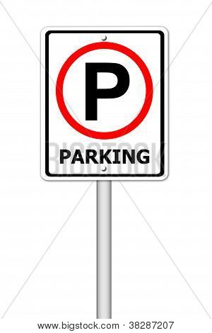 Parking Traffic Sign On White