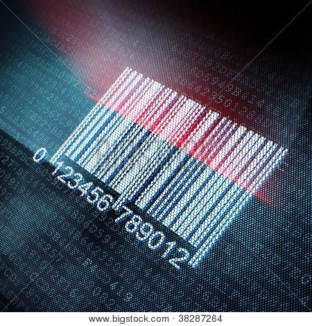 Pixeled barcode illustration on digital screen