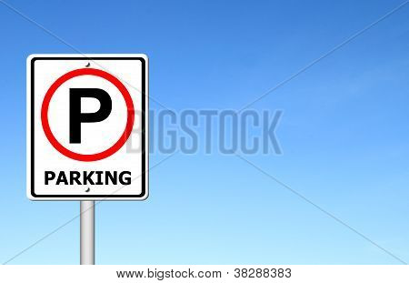 Parking Sign Over Blue Sky