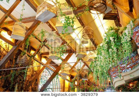 Empty Bird\'S Cages Hang Under Ceiling