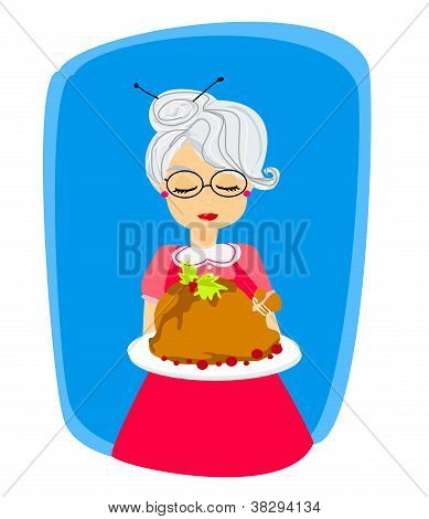 Grandma With A Delicious Roasted And Big Turkey