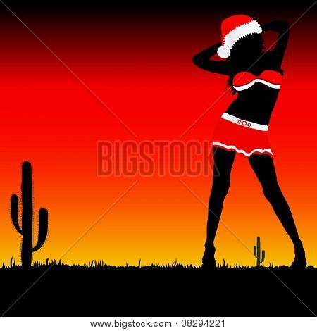 Girl With Christmas Hat Vector Part Two