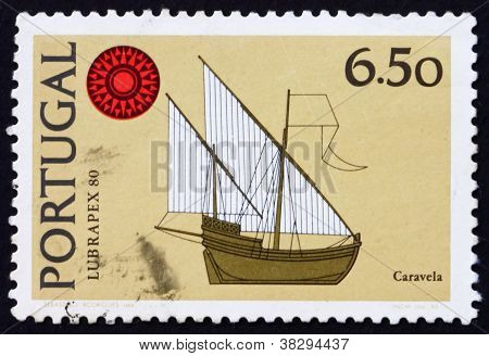 Postage stamp Portugal 1980 Caravel, ship