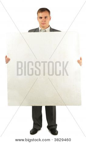 Businessman With Foam Plastic Board For Text