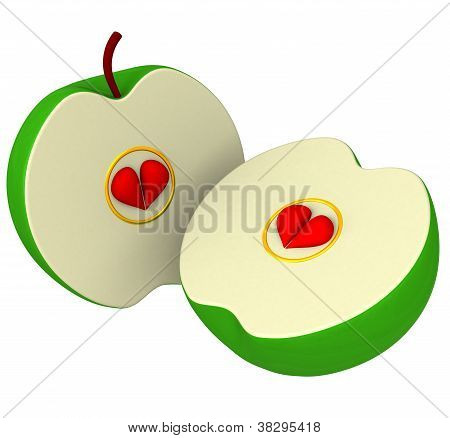 Two apple halves with seeds as hearts 3d