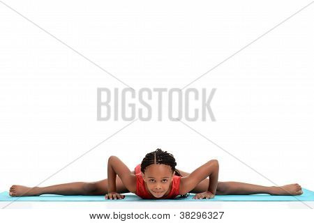 young girl doing gymnastics front split