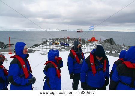 Cruise Ship Tourists Visiting Polar Research Station