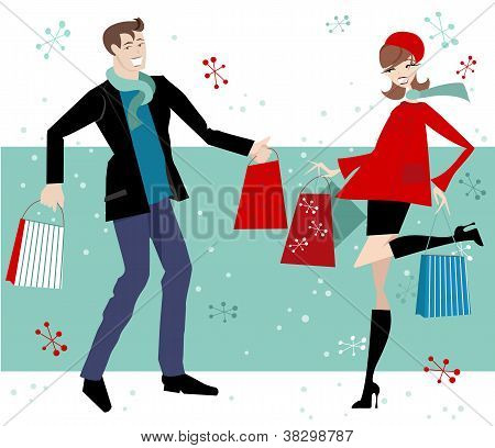 Christmas Shopping Couple