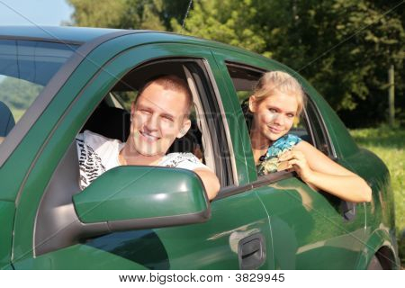 Gay And Girl In Car