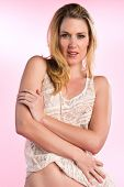 image of camisole  - Beautiful blonde dressed in a white camisole - JPG