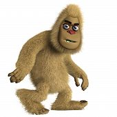 stock photo of x-files  - 3 d cartoon cute brown bigfoot monster - JPG