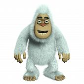 picture of bigfoot  - 3 d cartoon cute white bigfoot toy monster - JPG