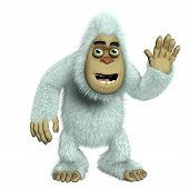 stock photo of bigfoot  - 3 d cartoon cute white bigfoot toy yeti - JPG