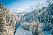 Beautiful View To Swiss Alps In Winter Time