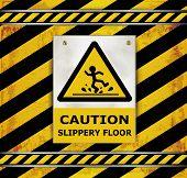 picture of slip hazard  - Sign caution blackboard caution slippery floor Sign caution blackboard caution slippery floor - JPG