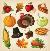 stock photo of pumpkin pie  - Set of colorful cartoon icons for thanksgiving day - JPG