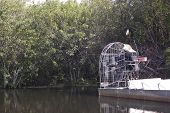 foto of airboat  - An air boat in the Everglades National Park - JPG