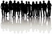 stock photo of person silhouette  - Illustration of people silhouettes and shadow black - JPG
