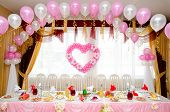picture of wedding feast  - a laid restaurant table decorated for a wedding party - JPG