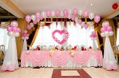 foto of wedding feast  - a laid wedding banquet table at a restaurant - JPG