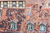 Tiled Red Roofs And Dormers Of Quedlinburg, Germany