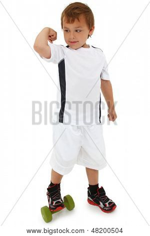 Adorable caucasian boy in white with exercising with green dumbbells over white. Clipping path.