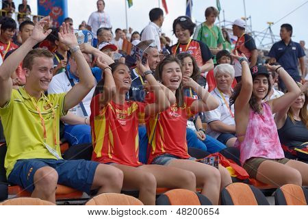 DONETSK, UKRAINE - JULY 13: Spanish fans support their team during 8th IAAF World Youth Championships in Donetsk, Ukraine on July 13, 2013
