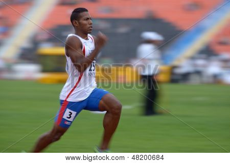 DONETSK, UKRAINE - JULY 13: Reynier Mena of Cuba win the heat in semi-final on 200 metres during 8th IAAF World Youth Championships in Donetsk, Ukraine on July 13, 2013