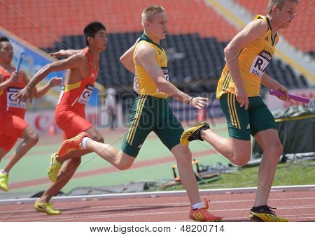DONETSK, UKRAINE - JULY 13: Teams South Africa and China compete in the boys medley relay during World Youth Championships in Donetsk, Ukraine on July 13, 2013