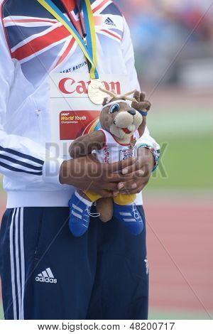 DONETSK, UKRAINE - JULY 13: Sabrina Bakare of Great Britain win gold in 400 metres during 8th IAAF World Youth Championships in Donetsk, Ukraine on July 13, 2013