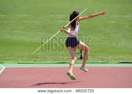 DONETSK, UKRAINE - JULY 13: Esther Turpin of France competes in the javelin throw in Heptathlon girls during 8th IAAF World Youth Championships in Donetsk, Ukraine on July 13, 2013