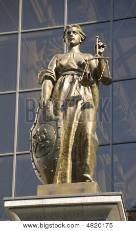 The Goddess Of Justice Statue On The Russian Supreme Court Building In Moscow