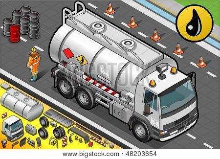Isometric Liquid Tanker Truck In Front View